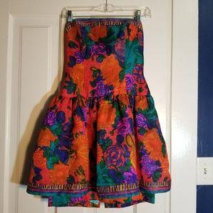 Orange and teal formal floral dress